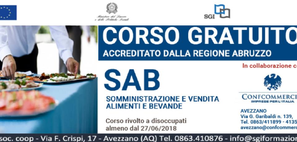 Corso gratuito di somministrazione di alimenti e bevande accreditato dalla Regione Abruzzo, per disoccupati