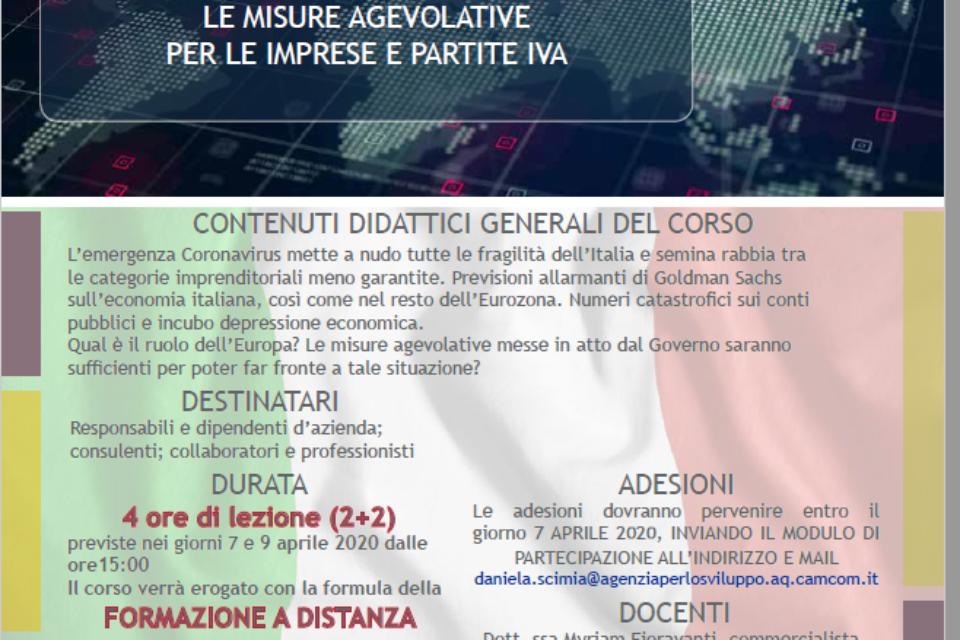 """LA FORMAZIONE IN STREAMING CONTNUA FORMAZIONE CONTINUA Nuovo corso on line """"Emergenza coronavirus: le misure agevolative per le Imprese e le Partite IVA"""""""
