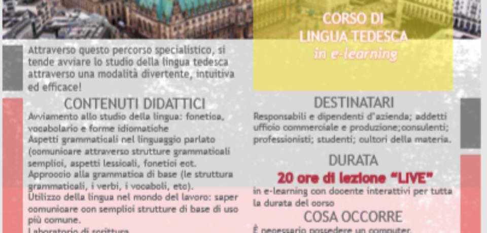 LA FORMAZIONE E-LEARNIG CONTINUA CON UN CORSO DI  LINGUA TEDESCA