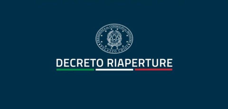 DECRETO RIAPERTURE D.L. N. 52 DEL 22 APRILE 2021